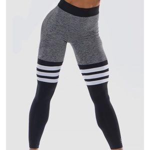 Bombshell Thigh High Grey/Black Leggings XS